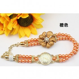Girl Fashion Stylis Pearl Bracelet Quartz Watch - Orange