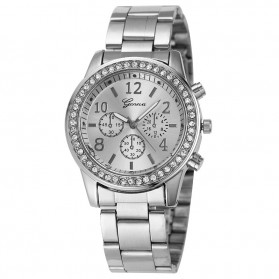 Geneva Simple Fashion Quartz Analog Stainless Steel Strap Watch - YQ004 - Silver