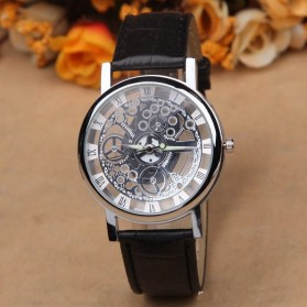 SKELETON Jam Tangan Analog - YQ006BK - Black/Silver - 1