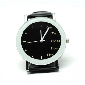 Hongc Unique Man Quartz Analog Leather Strap Watch - A123GI - Black with White Side