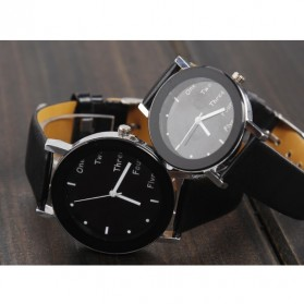 Hongc Unique Woman Quartz Analog Leather Strap Watch - A123GI - Black - 1