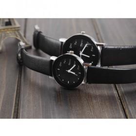 Hongc Unique Woman Quartz Analog Leather Strap Watch - A123GI - Black - 2