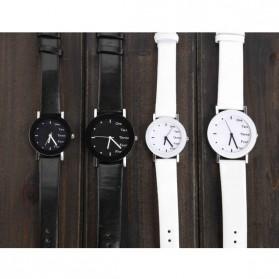 Hongc Unique Woman Quartz Analog Leather Strap Watch - A123GI - Black - 5
