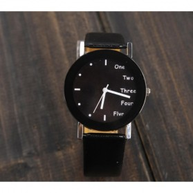 Hongc Unique Woman Quartz Analog Leather Strap Watch - A123GI - Black - 7