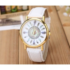Fashion Feather Pattern Female Watch Leather Strap - White