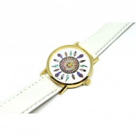 Fashion Feather Pattern Female Watch Leather Strap - White - 2
