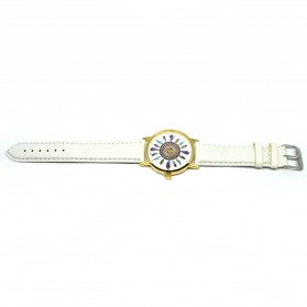Fashion Feather Pattern Female Watch Leather Strap - White - 3