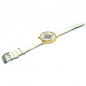 Fashion Feather Pattern Female Watch Leather Strap - White - 4