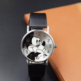 Mickey Mouse Children Watch Leather Strap - Black