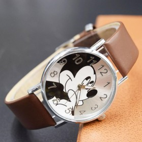 Mickey Mouse Children Watch Leather Strap - Black - 2