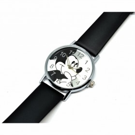 Mickey Mouse Children Watch Leather Strap - Black - 3