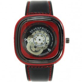 Seven Square Men Watch Large Dial - Red