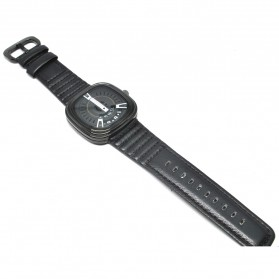 Seven Three Sided Quartz Watch with Square Large Dial - Black