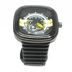 Seven Dual Strip Quartz Watch with Square Large Dial - Black/Yellow