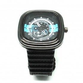 Seven Dual Strip Quartz Watch with Square Large Dial - Black/Blue