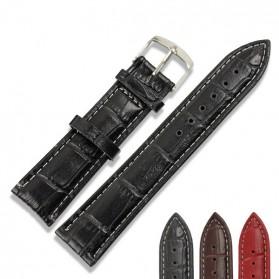 Tali Kulit Jam Tangan Bamboo Grain Watchband Leather Strap 20mm - Black