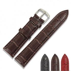Tali Kulit Jam Tangan Bamboo Grain Watchband Leather Strap 20mm - P15 - Brown