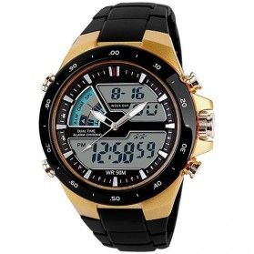 Mortima Casio Men Sport LED Watch Water Resistant 50m - AD1016 - Golden
