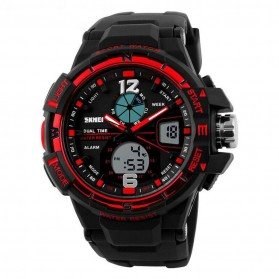 Mortima Men Sport Analog LED Watch Water Resistant 50m - AD1148 - Black/Red