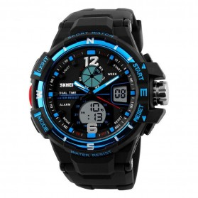 Mortima Men Sport Analog LED Watch Water Resistant 50m - AD1148 - Black/Blue