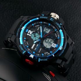 Mortima Men Sport Analog LED Watch Water Resistant 50m - AD1148 - Black/Blue - 5