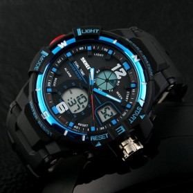 Mortima Men Sport Analog LED Watch Water Resistant 50m - AD1148 - Black/Blue - 6