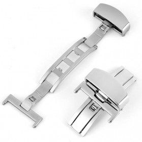 Clasp Buckle Stainless Steel Jam Tangan Size 24mm - Silver