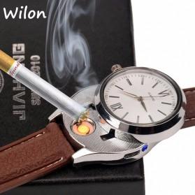 Jam Tangan Kasual dengan Korek Elektrik USB - Black/Silver - 2