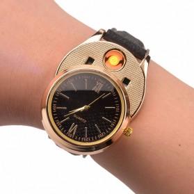 Jam Tangan Kasual dengan Korek Elektrik USB - Black/Silver - 3