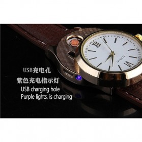 Jam Tangan Kasual dengan Korek Elektrik USB - Black/Silver - 6