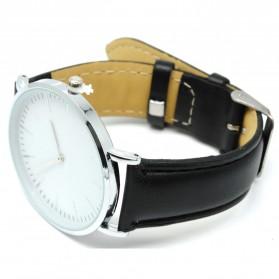 Jam Tangan Fashion Strap Kulit Elegan - Black/Silver - 4