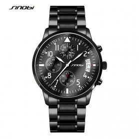 SINOBI Jam Tangan Pilot Chrono Pria - 9639 - Black