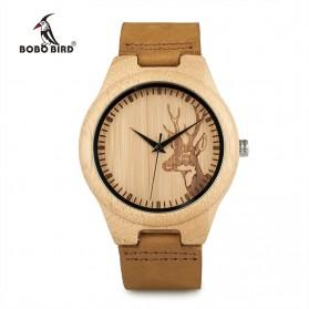 BOBO BIRD Jam Tangan Bambu Analog Pria - WN20 - Brown