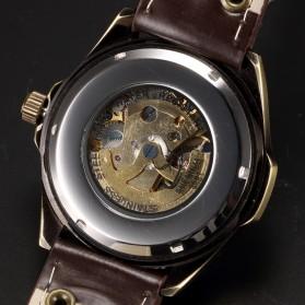 SHENHUA Jam Tangan Retro Skeleton Mechanical - P368 - Brown - 4