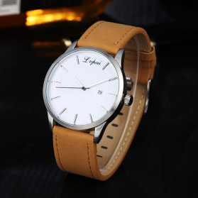 Lvpai Jam Tangan Analog Pria Luxury Leather - LP031 - Brown/White