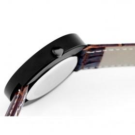 Enmex Jam Tangan Analog Kulit Pria - E2324 - Black White - 4