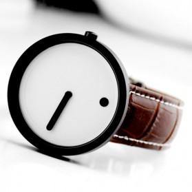 Enmex Jam Tangan Analog Kulit Pria - E2324 - Black White - 6