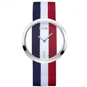 DOM Jam Tangan Analog Wanita Strap Nylon - LP-205 - Blue/Red