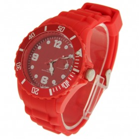 Silicone Jelly Sport Quartz Watch with Date Display - Red