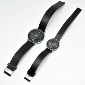 Classical Couple Diamond Leather Band Quartz Watch - Black