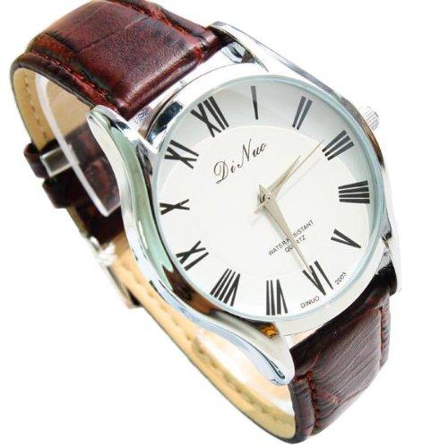 ... DiNuo Roman Numeral Leather Band Quartz Watch - Brown - 1 ... fb10da9f71