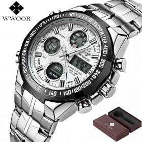 WWOOR Jam Tangan Luxury Pria - 8019 - White/Black