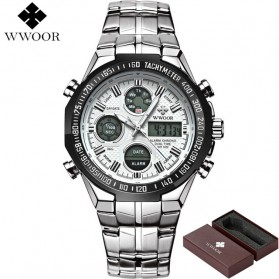 WWOOR Jam Tangan Luxury Pria - 8019 - White/Black - 2