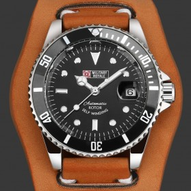 Military Royale Jam Tangan Automatic Self Winding Pria - MR116/119/121/123/126 - Black/Brown