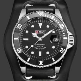 Military Royale Jam Tangan Automatic Self Winding Pria - MR116/119/121/123/126 - Black/Black