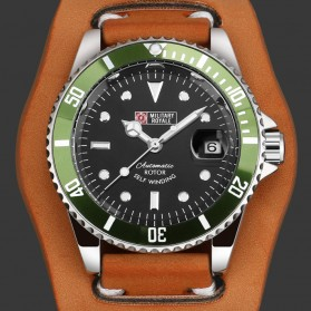 Military Royale Jam Tangan Automatic Self Winding Pria - MR116/119/121/123/126 - Brown/Green