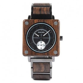BOBO BIRD Jam Tangan Kayu Seiko Movement Model Kotak - R14 - Brown