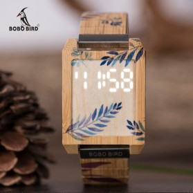 BOBO BIRD Jam Tangan Kayu Natural Bamboo Square Design - Q25 - Brown