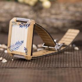 BOBO BIRD Jam Tangan Kayu Natural Bamboo Square Design - Q25 - Brown - 2