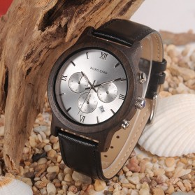 BOBO BIRD Jam Tangan Kayu Leather Strap - WP28 - Black/Silver